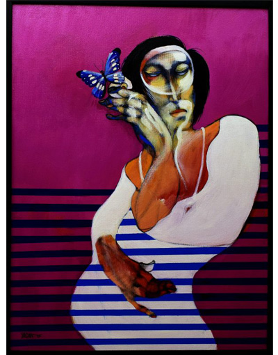woman and butterfly-